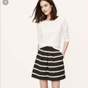 NWT Loft Corded Striped Pleated Skirt 8T